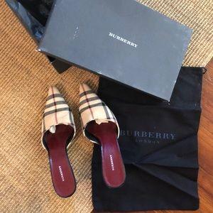 Gently worn Burberry mule heels